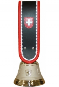 Echte Glocke Bronze, Riemen rot-weiss eingefasst, Nr. 12 H