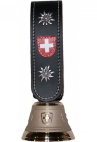 Echte Glocke Bronze, Riemen mit Edelweiss, umnäht, Nr. 9