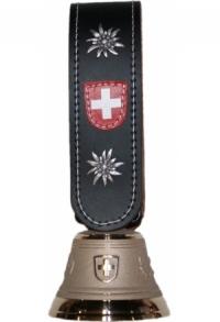 Echte Glocke Bronze, Riemen mit Edelweiss, umnäht, Nr. 11 H