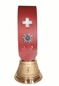 Echte Glocke Bronze mit Riemen rot, Nr. 12, H