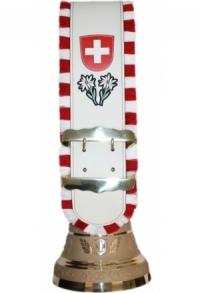 Glocken Schweiz mit Riemen weiss und individuellem Logo/Te..