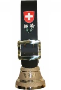 Glocke Schweiz mit Riemen schlicht (Maxi), 28 cm / 62 cm