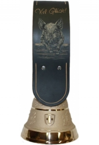 Echte Glocke Bronze mit geschnitztem Riemen Glücksschwein, Nr. 12