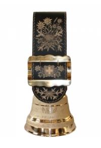 Echte Glocke Bronze mit handgeschnitztem Riemen Alpenblumen, Nr. 31 H